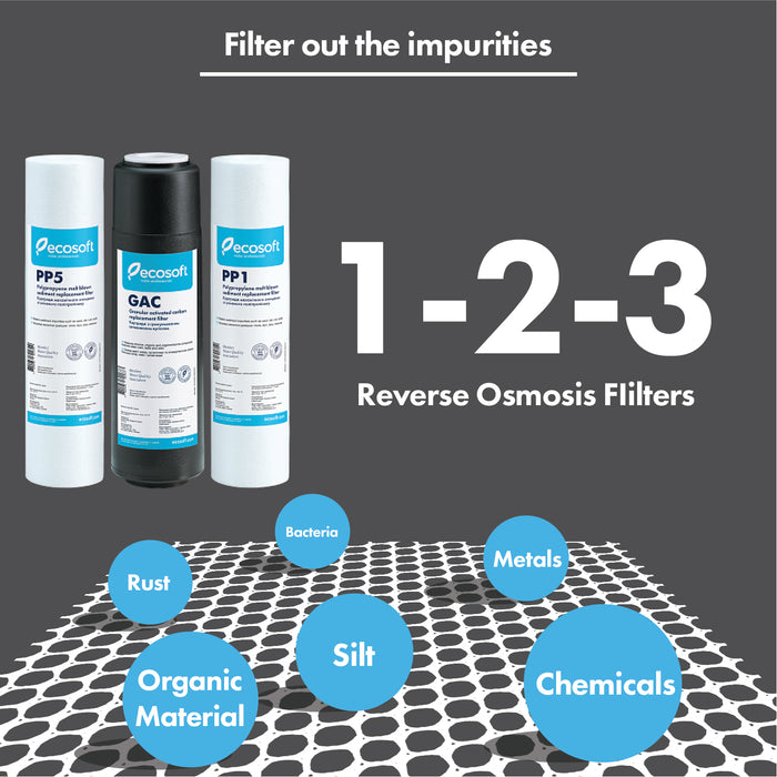 Ecosoft Set of PP and GAC Replacement Filters (Stages 1-2-3) for Reverse Osmosis Filter Systems