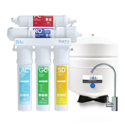 5 Stage Reverse Osmosis Water Filter System with Pump, RO, Brio Legacy