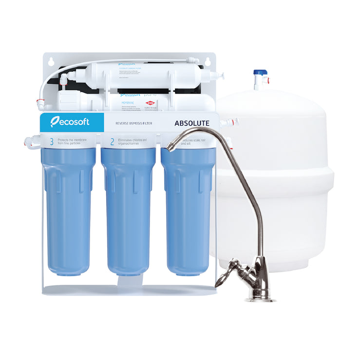 5 Stage Reverse Osmosis Water Filter System on Metal Rack with Pump, RO, Ecosoft Absolute