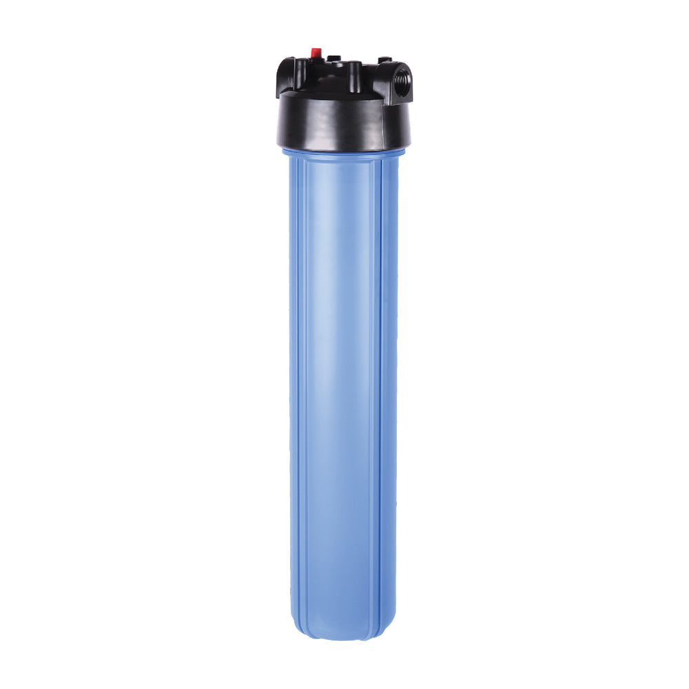"Big Blue 2.5"" X 20"" Filter Housing & Pressure Release Female Cap with 3/4"" Inlet & Outlet"