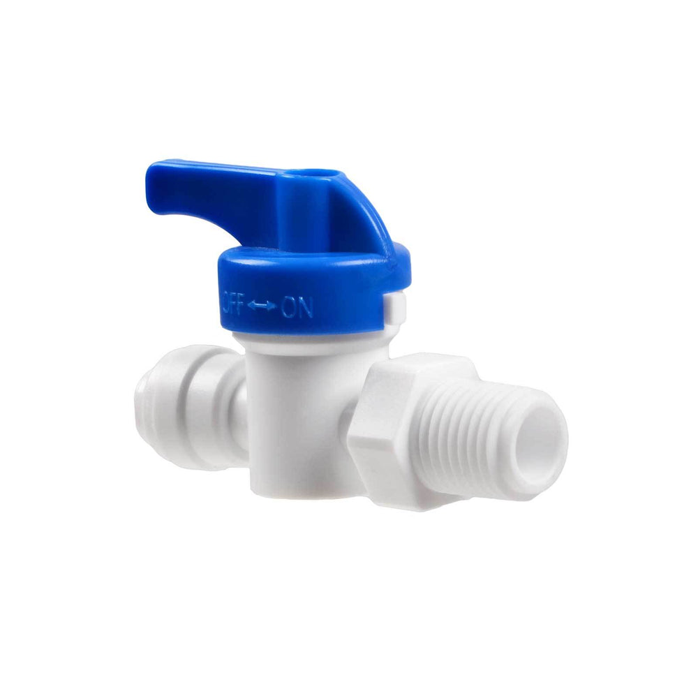 "Male Straight Hand Valve with 1/4"" Push Fit Inlet & Threaded Outlet"