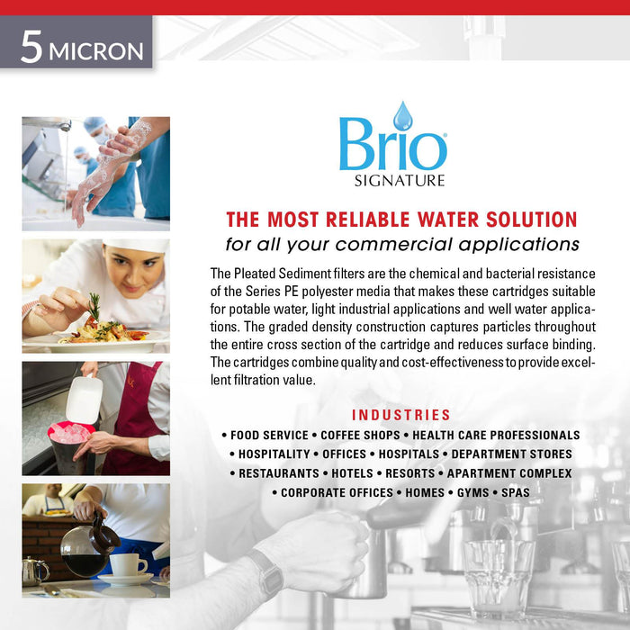 "Brio Signature 2.5"" X 20"" Pleated Pp Sediment Filter for Commercial RO System"