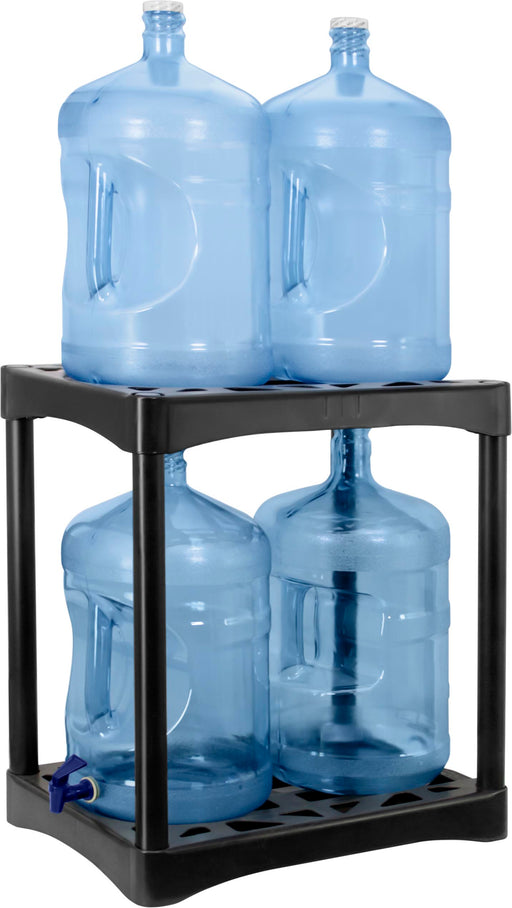 24-Inch, Two-Tier Bottle Stand, Black