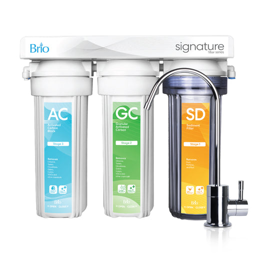 3 Stage Undersink Drinking Water Filter System, Brio Signature