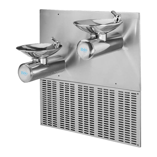 Two Level Wall Mounted Cold Water Fountains, Stainless Steel, Brio Premiere