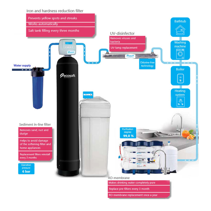 Whole House Water Softener Filter System, 900 GPH, Ecosoft Absolute (Dowex® HCRS/S)