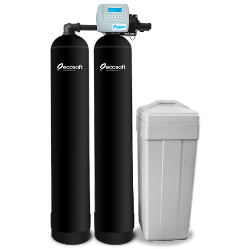 Whole House Water Softener Filter System of Continuous Flow, 900 GPH, Ecosoft FU Twin (Dowex® HCRS/S)
