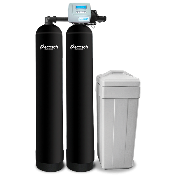 Whole House Water Softener Filter System of Continuous Flow, 530 GPH, Ecosoft FU Twin (Dowex® HCRS/S)