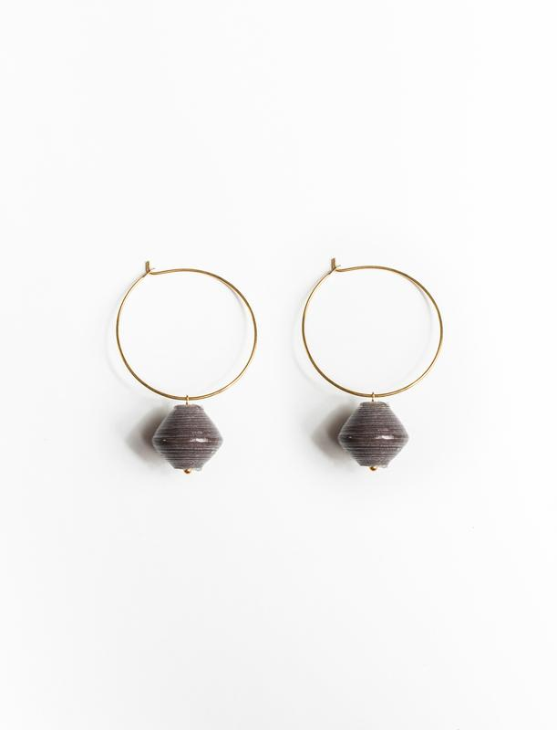 SINGLE BEAD HOOPS (CHARCOAL) - No.2 Organics