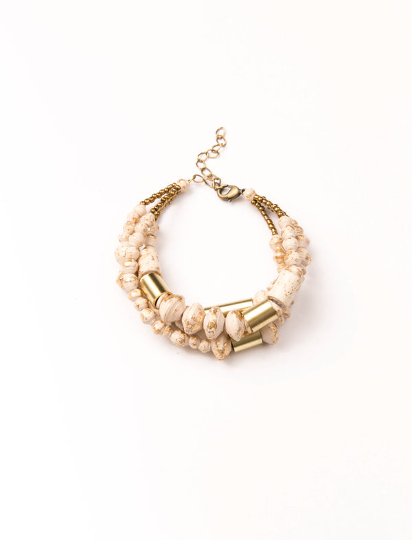 BISBEE BUNDLE BRACELET (CREAM/GOLD) - No.2 Organics