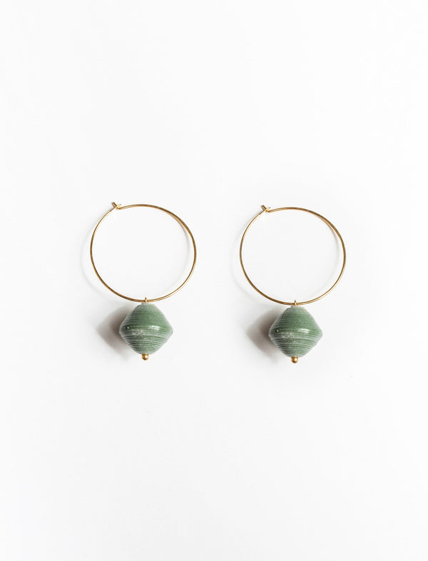 SINGLE BEAD HOOPS (SAGE) - No.2 Organics