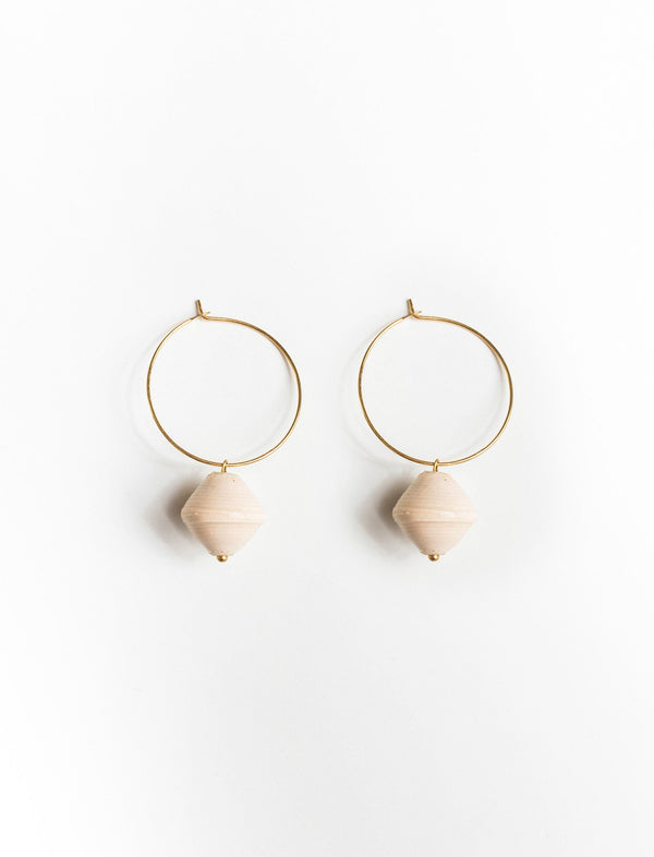 SINGLE BEAD HOOPS (CREAM) - No.2 Organics