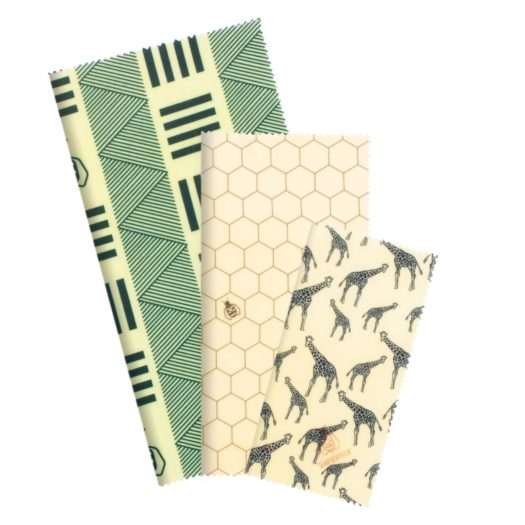 Reusable Beeswax Food Wrap - Beginner Set (Safari) - No.2 Organics