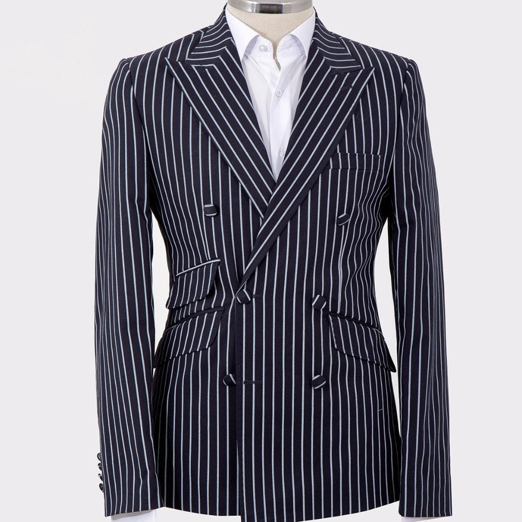 Mel's Double Breasted White Pinstripes Black Suits
