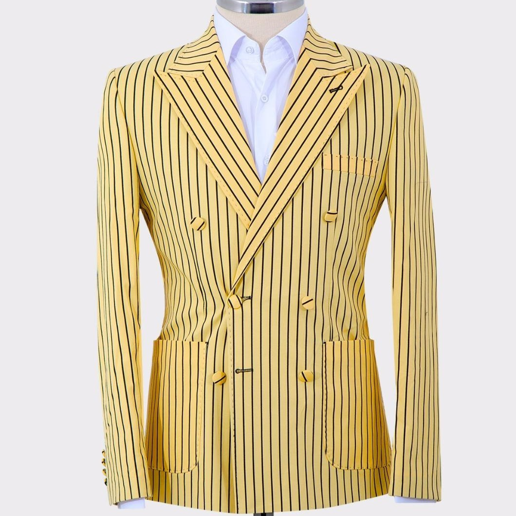 Mel's Double Breasted Black Pinstripes Yellow Suits