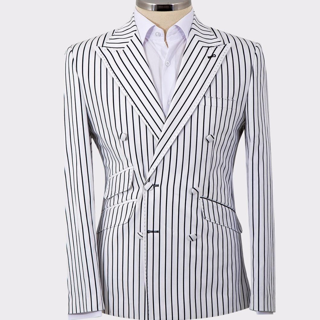 Mel's Double Breasted Black Pinstripes White Suits