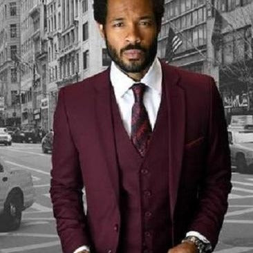 3 Piece Men's Suit Burgundy