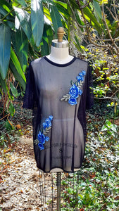 Sheer Tulle Blue Rose Top (Large