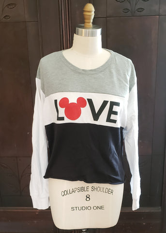 "Mickey ""LOVE"" Cropped Sweatshirt (XL)"