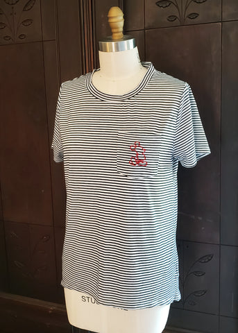 Striped Mickey Mouse Pocket Tee (XL)