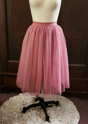 Dusty Rose Tulle Skirt (Medium)