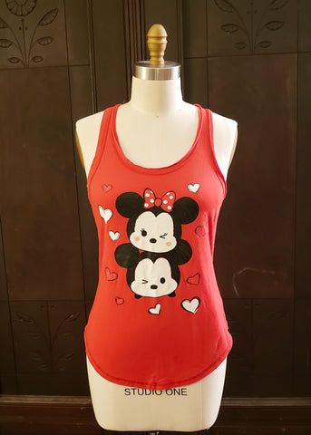 Tsum Tsum Minnie & Mickey Racerback Tank (XL, very fitted)