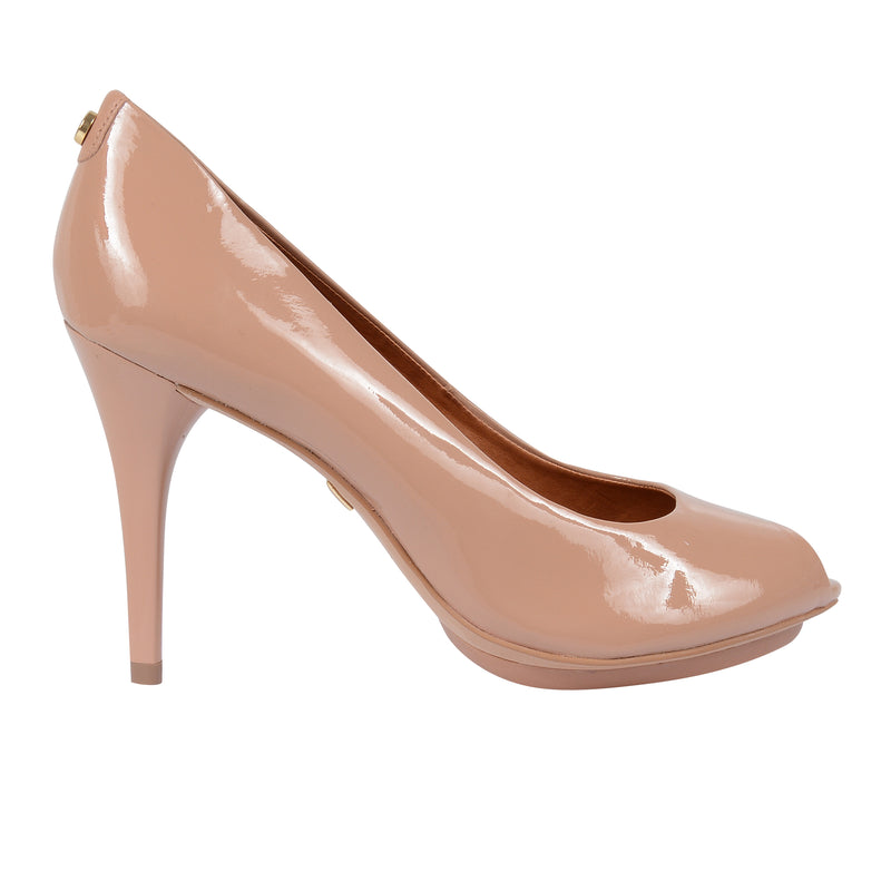1662fe336b Jorge Bischoff J30027030 Classic High Heel Peep Toe in Patent Leather in  Nude