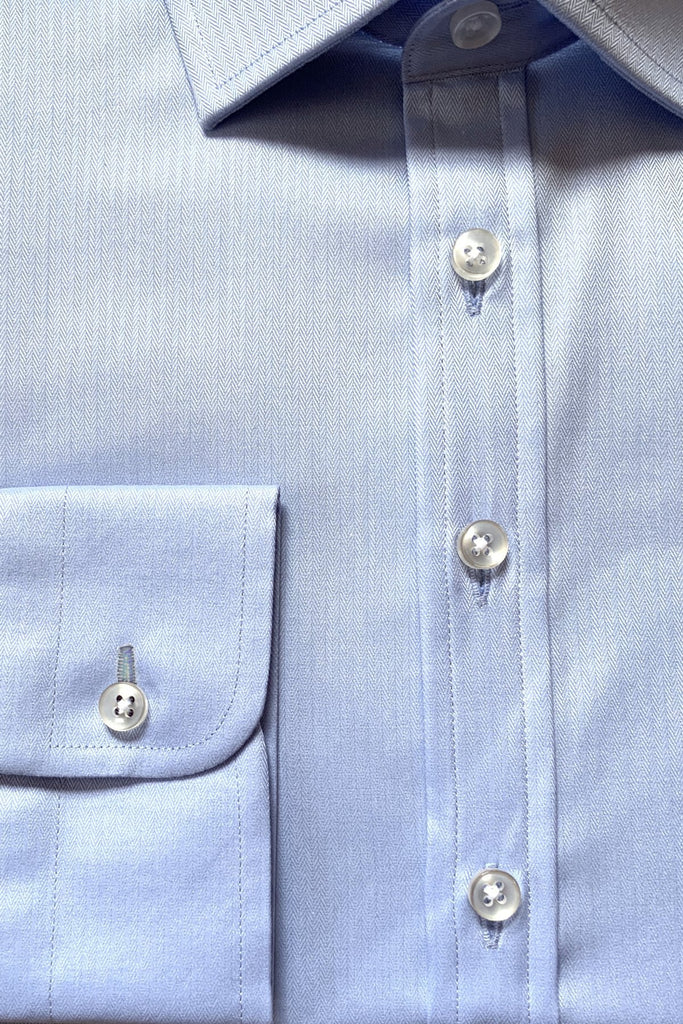 Blue Fine Herringbone Shirt - MARK STEPHEN