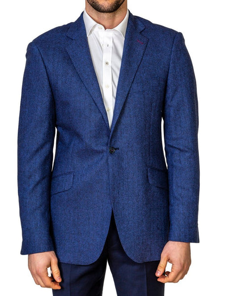 Blue Herringbone Jacket - MARK STEPHEN