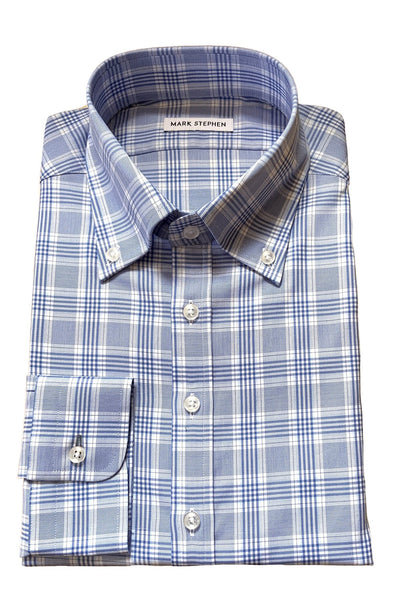 Blue Madras Check Shirt - MARK STEPHEN