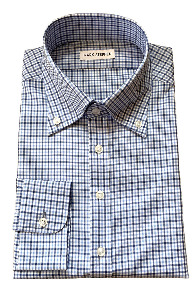 Blue Small Check Shirt - MARK STEPHEN