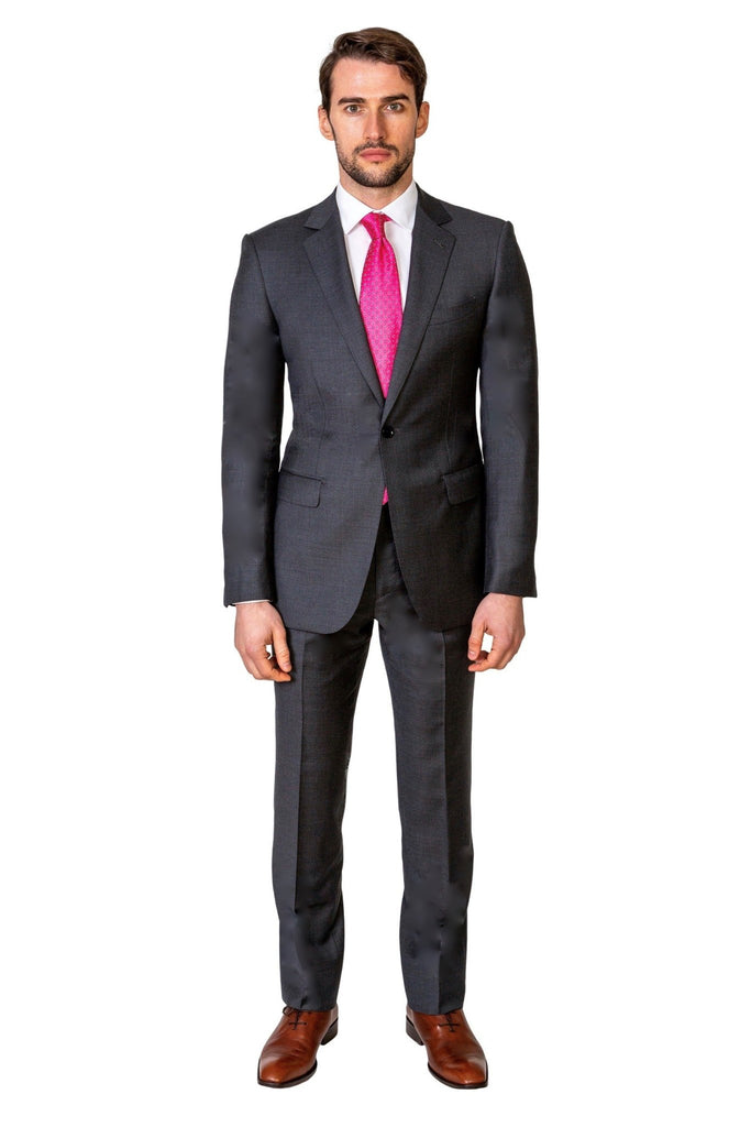 Grey Birds Eye Suit - MARK STEPHEN