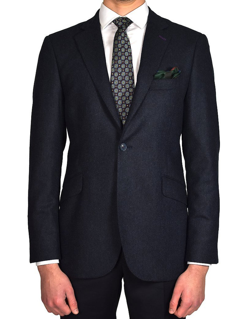 Navy Herringbone Jacket - MARK STEPHEN