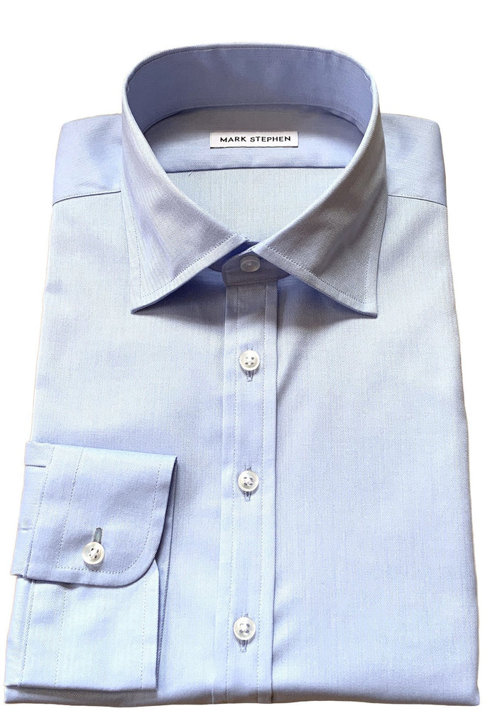 Pale Blue Fine Herringbone Shirt - MARK STEPHEN