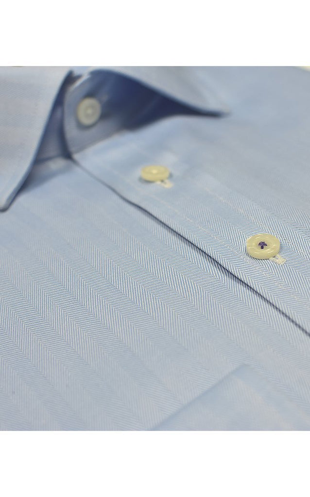 Regular Fit Blue Herringbone Shirt - MARK STEPHEN