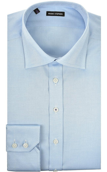 Regular Fit Blue Pinpoint Shirt - MARK STEPHEN