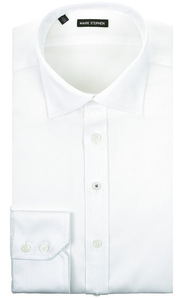 Regular Fit White Diamond-Weave Shirt - MARK STEPHEN