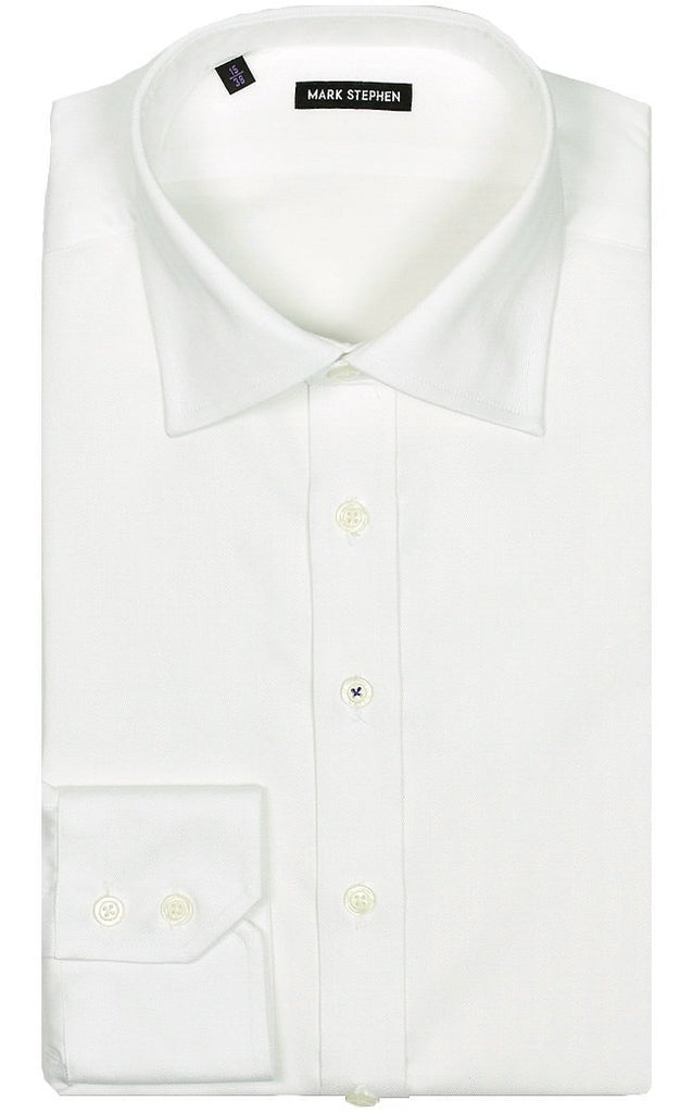 Regular Fit White Herringbone Shirt - MARK STEPHEN