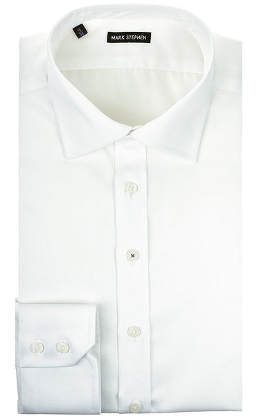 Regular Fit White Twill Shirt - MARK STEPHEN
