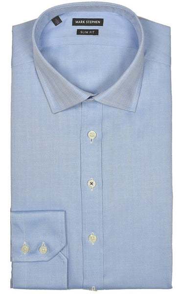Slim Fit Blue Herringbone Shirt - MARK STEPHEN