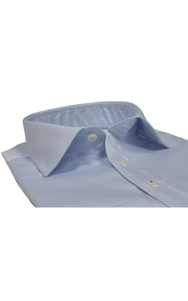 Slim Fit Pale Blue Heavy Twill Shirt - MARK STEPHEN