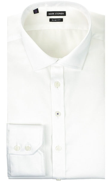Slim Fit White Basket-Weave Shirt - MARK STEPHEN