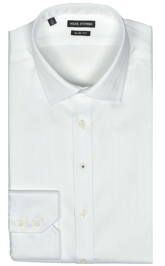 Slim Fit White Herringbone Shirt - MARK STEPHEN