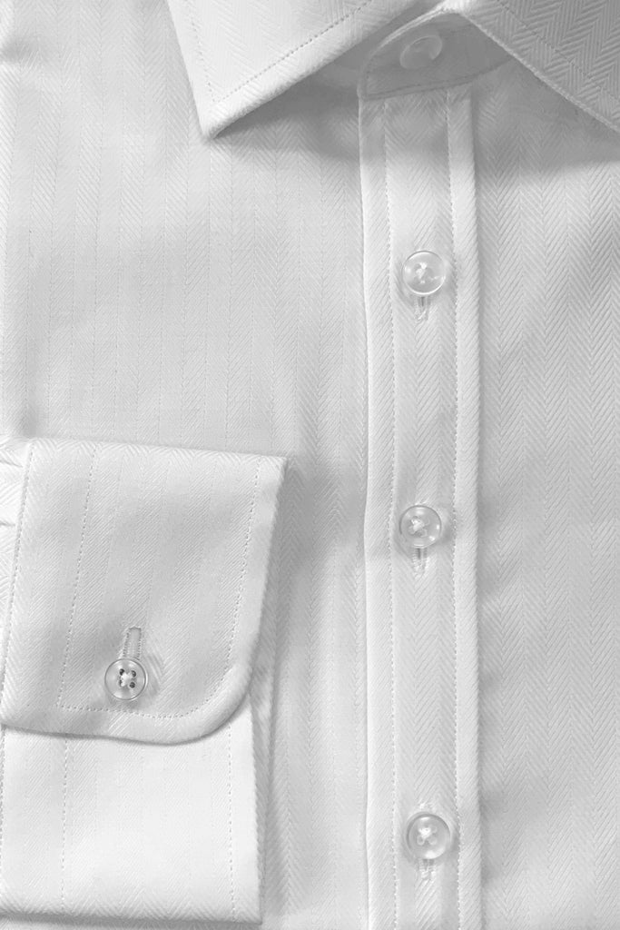 White Herringbone Shirt - MARK STEPHEN