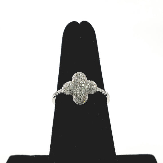 14kt White Gold with Pave Diamonds (Floral) - 58241