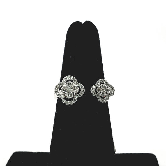 White Gold Open Top Diamond Ring (Floral) - 71376