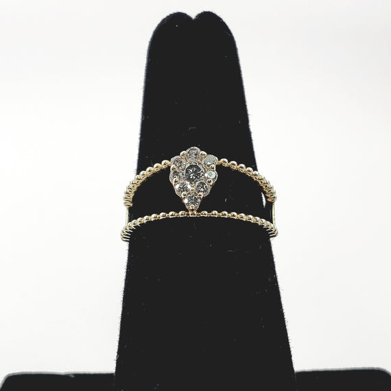 Yellow Gold Pear Shape Diamond Pave Ring - 69345