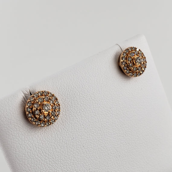 Rose Gold Multi-Ring Diamond Earrings - 56214