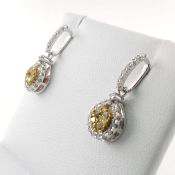 White Gold Ear Drop Earrings with White and Yellow Diamonds - 60445
