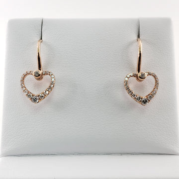 Rose Gold Heart-Shaped Drop Earring with Diamonds - 61105